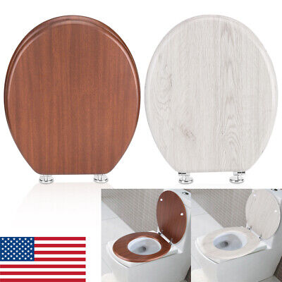 - Wood Toilet Seat Lift off Closed Front Elongated Adjustable Hinges High Clean