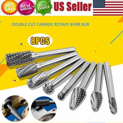 8 Pcs 14 Tungsten Carbide Burr Rotary Drill Bits Tools Cutter Files Set Shank