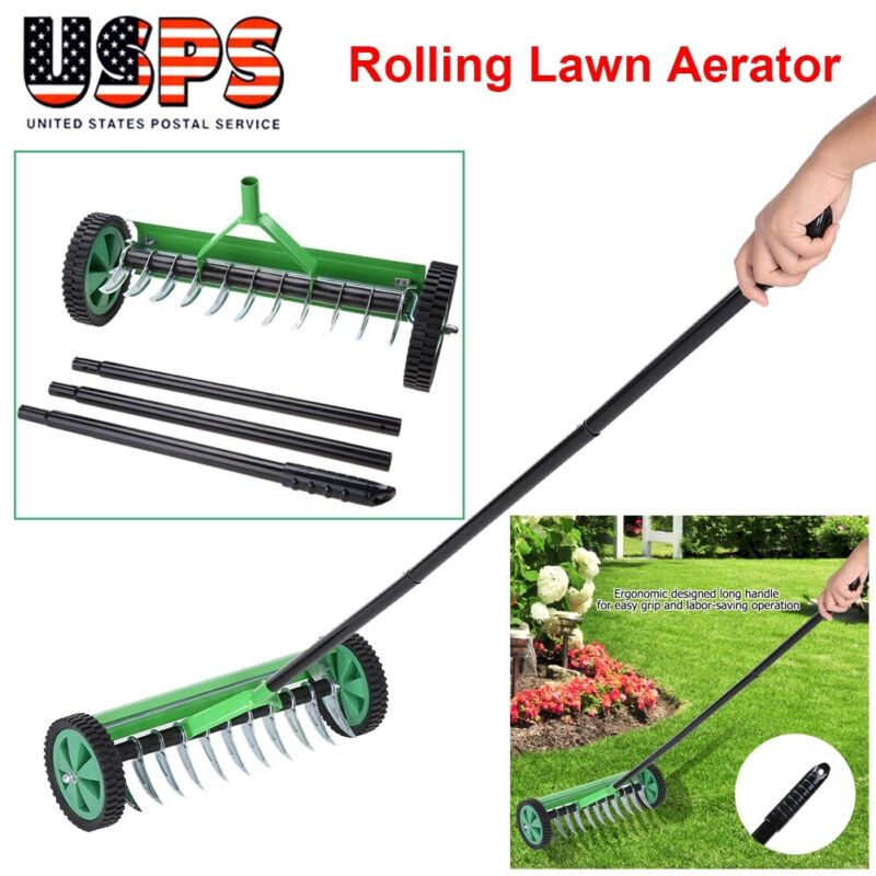 Heavy Duty Rolling Garden Lawn Aerator Roller Home Grass Metal Handle Green USA