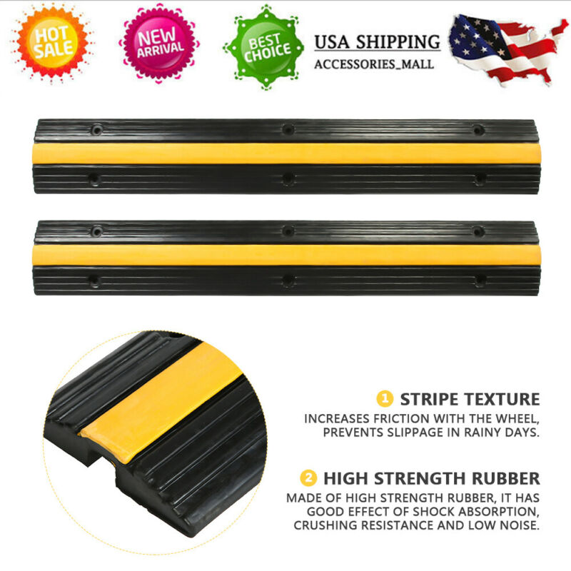 Moveable Plastic Speed Bump Sign Traffic Road Safety Cable Protector NEW