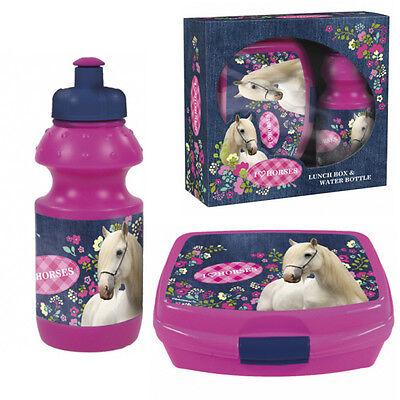 Set Brotdose und Trinkflasche mit Pferde Motiv blau Kinder als Geschenkset Pferd