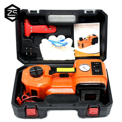 12V DC 5T 3 in 1 Electric Hydraulic Floor Jack Tire Inflator Pump LED Flashlight