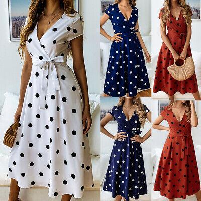 Women Summer Boho Long Midi Dress Cocktail Party Beach Dresses Polka Dot Dress - Polka Dot Party