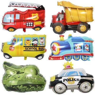 Cartoon Foil Balloon Fire Truck Police Car Train Tank Birthday Party -