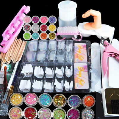 Professional Nail Art Acrylic Powder Liquid Primer Tip Practice Tool Kits Womens