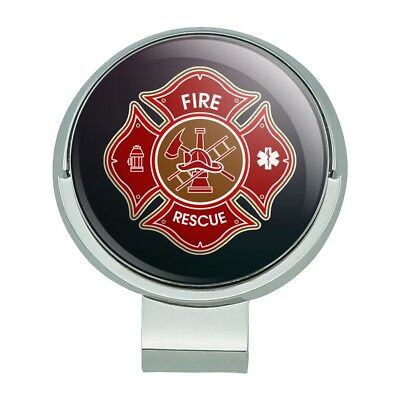 Firefighter Golf Accessories (Firefighter Fire Rescue Maltese Cross Golf Hat Clip With Magnetic Ball)