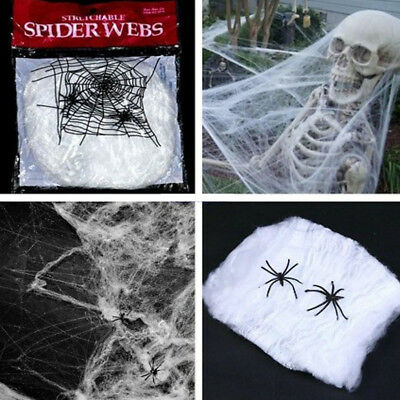Halloween Spider Web Scary Party Scene Props Stretchy Cobweb Home Bar - Halloween Spider Webbing