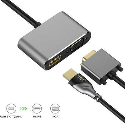 Type C USB 3.1 to USB-C 4K HDMI DVI VGA Adapter Hub for MacBook Pro Laptop PC