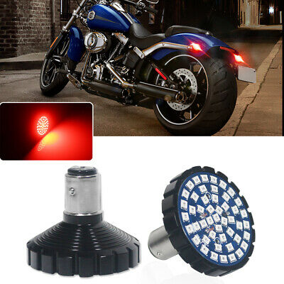 2x 1157 Brilliant Red 48-SMD LED Turn Signal Tail Lights Kit For Harley Davidson