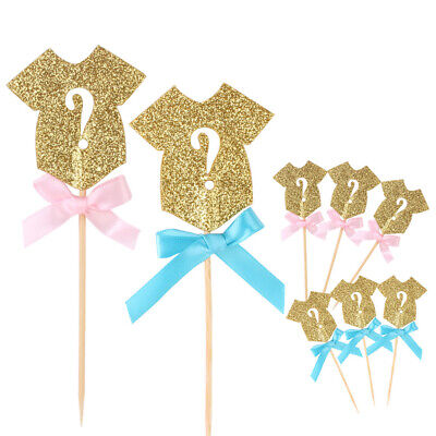 10Pcs Glitter Gender Reveal Cupcake Topper Clothes Baby Shower Party Cake Decors](Gender Reveal Cupcake Toppers)