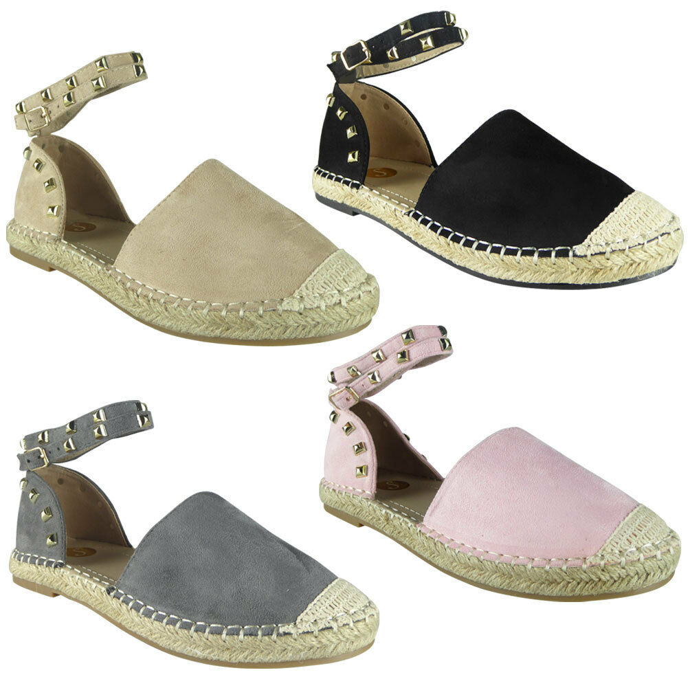8a3498549 Details about New Womens Ladies Ankle Strap Studded Espadrilles Suede Shoes  Sandals Flats Size
