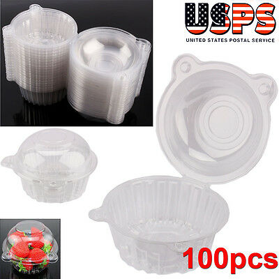 Adorable 100PCS Plastic Cupcake Cake Case Muffin Pod Dome Holder Box Container