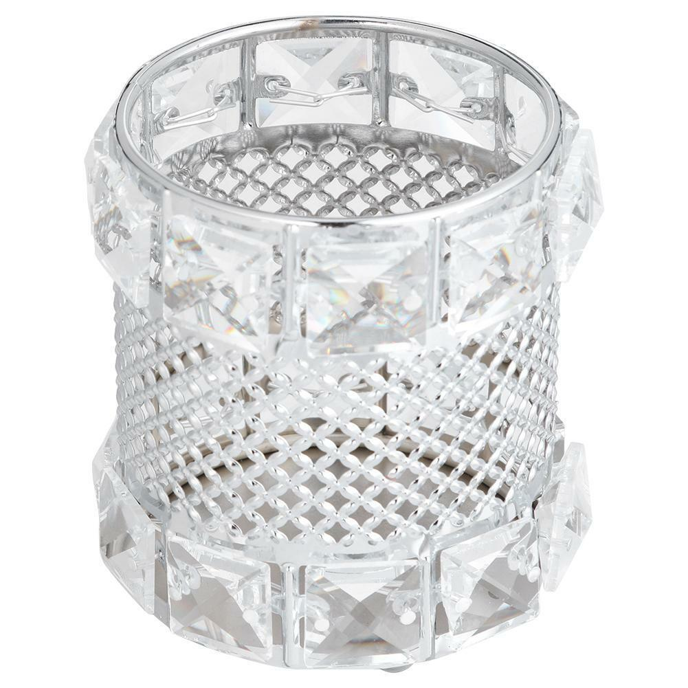 Metal Crystal Makeup Brush Holder Storage Cosmetic Eyebrow Pens Box Organiser 8
