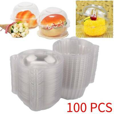 100 Large Plastic Single Cupcake Day Muffin Cases Cup Cake Pods Domes Boxes for sale  United Kingdom