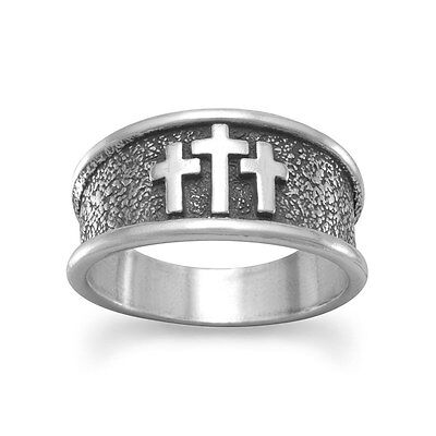 Oxidized Mens Cross Ring (Oxidized Men's Cross Ring Sterling Silver .925 Size)