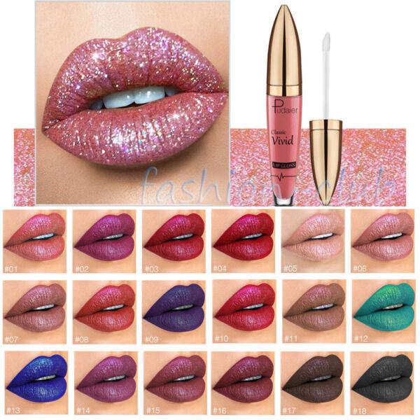 Waterproof Metallic Glitter Matte Liquid Lipstick Makeup Lip Gloss Long Lasting 1