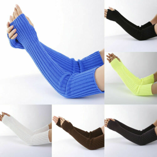 Womens Stretchy Long Sleeve Fingerless Gloves Warm Knitted Mittens Arm Warmers Clothing, Shoes & Accessories