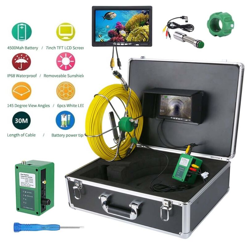 """7""""LCD 30M Sewer Waterproof Camera Pipe Pipeline Drain Inspection System"""
