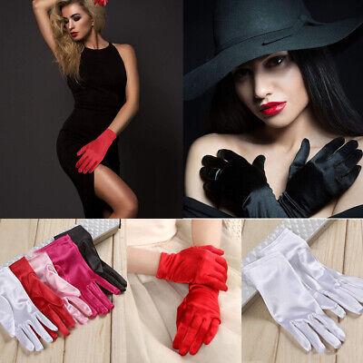 Dress Gloves Womens (Womens Wedding Gloves Halloween Fancy Dress Party Evening Short Satin Glove)