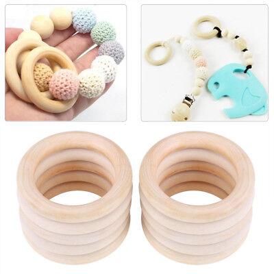 Natural Baby Teether - 10pcs Natural Beech Wood Teething Ring Baby Nursiing Chewable Teether DIY Craft