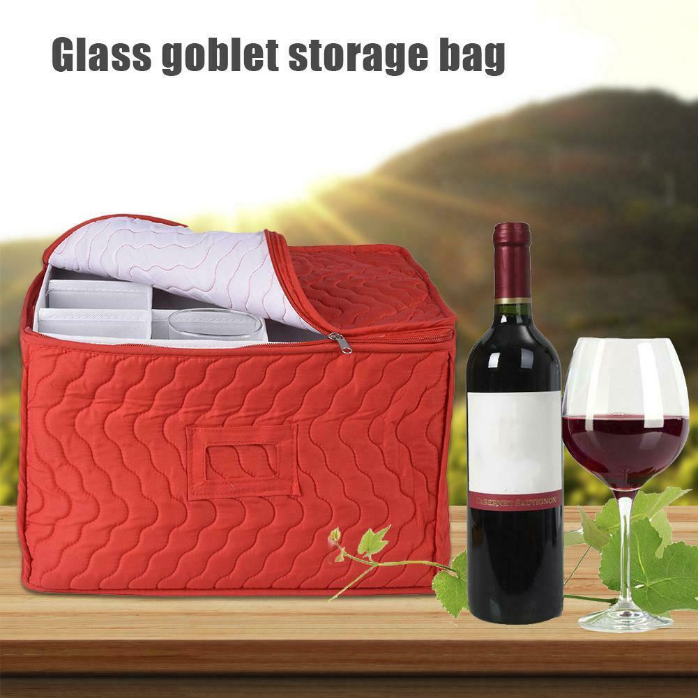 Stemware Storage Chest Goblet Organizer Bag Quilted Case 12 Dividers For Protecting Wine Glasses Champagne Flutes Goblets