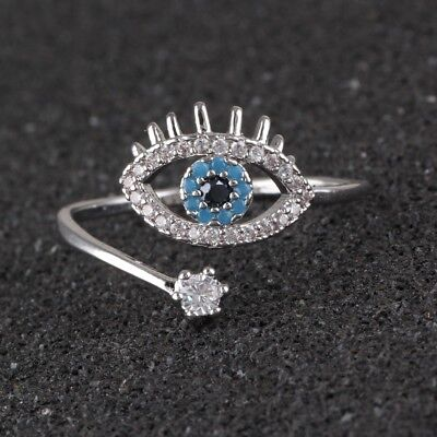 Fashion 925 Silver Ring Stainless Steel Crystal Blue Eye Wedding Ring Jewelry - Eye Rings