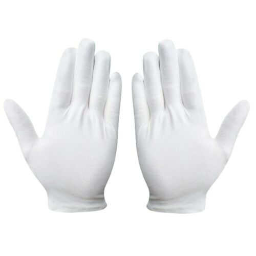 2 Pair  8'' White Cotton Gloves Inspection Antique Coin Jewe