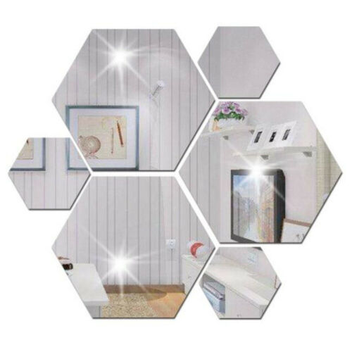 Home Decoration - 12x Mirror Tiles Self Adhesive Tile Wall Floor Decal Sticker Bathroom Home Decor