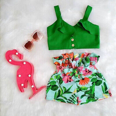 US Toddler Kids Baby Girls T-shirt Vest Tops + Shorts Outfits Summer Clothes Set - Children Outfits