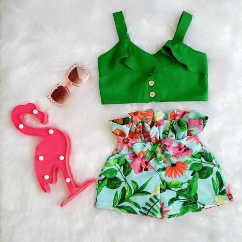 US Toddler Kids Baby Girls T-shirt Vest Tops + Shorts Outfit