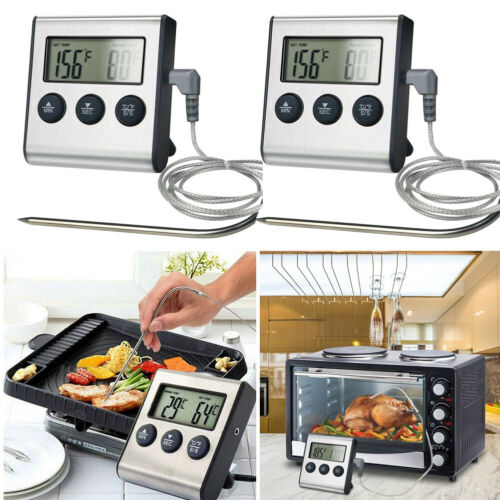 1/2x LCD Digital Food Cooking Timer Meat Thermometer w/ Prob