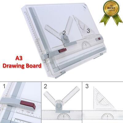 Adjustable A3 Drawing Board Portable Drafting Kit  Table with Ruler US