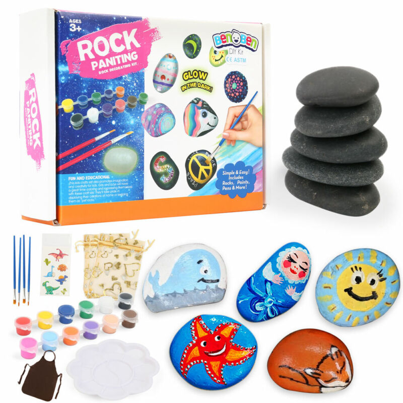 Rock Painting Kit for Kids Arts and Crafts for Girls Boys Painting Rocks Gifts