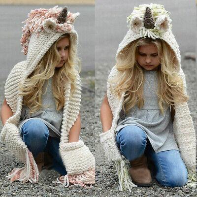 Adult Kid Unicorn Hooded Scarf Animal Hoodie Cowl Crochet Knitted Beanie Hat