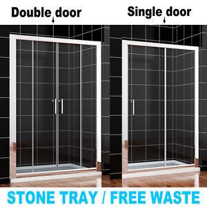Double shower enclosure ebay for Single sliding screen door