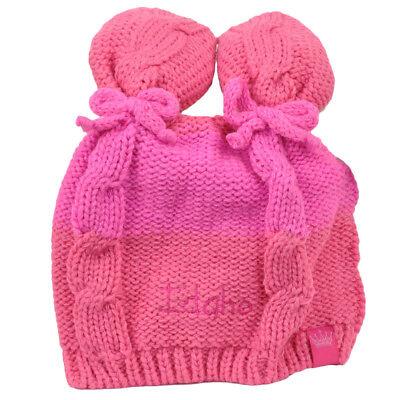 - Idaho State Infant Striped Knit Beanie Pink Crochet Ear Ball Hat USA America