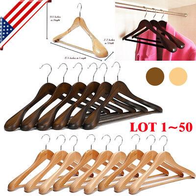 1~50 Pack Wooden Suit Hangers Wide Shoulders Natural Wood Hanger Extra-Wide BP ()