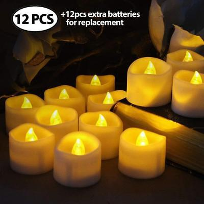 Flameless Votive Candles Flickering Christmas LED Tea Light White Amber Tealight