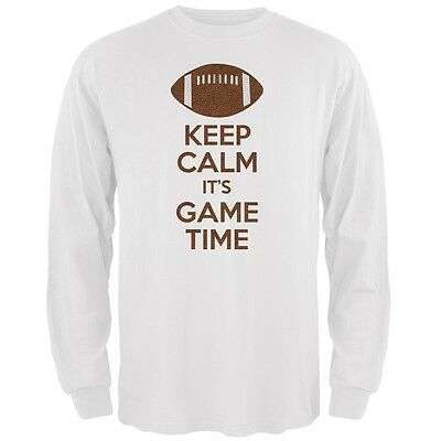 Keep Calm Game Time Football White Adult Long Sleeve T-Shirt