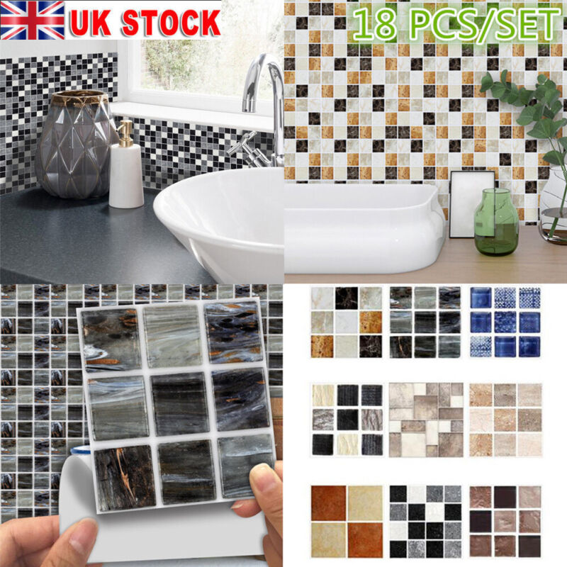 Home Decoration - 180pcs Kitchen Tile Stickers Bathroom Mosaic Sticker Self-adhesive Wall Decor