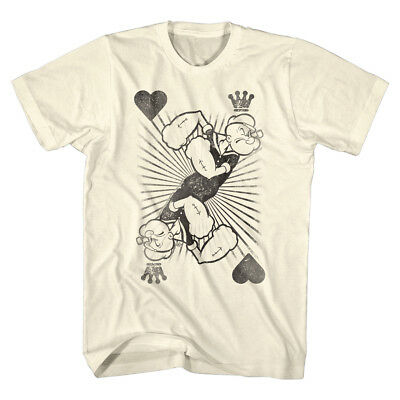 Popeye The Sailorman King of Hearts Playing Card Men's T Shirt Cartoon Crown - King Of Hearts Crown