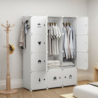 Portable Wardrobe Storage Closet Plastic Armoire, White, 3x4 Tiers, 18