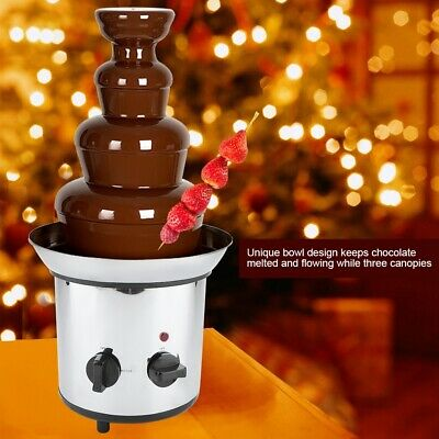 Commercial Stainless Chocolate Fondue 4 Tier Fountain Cheese Melting Machine US Chocolate Fondue Cocoa