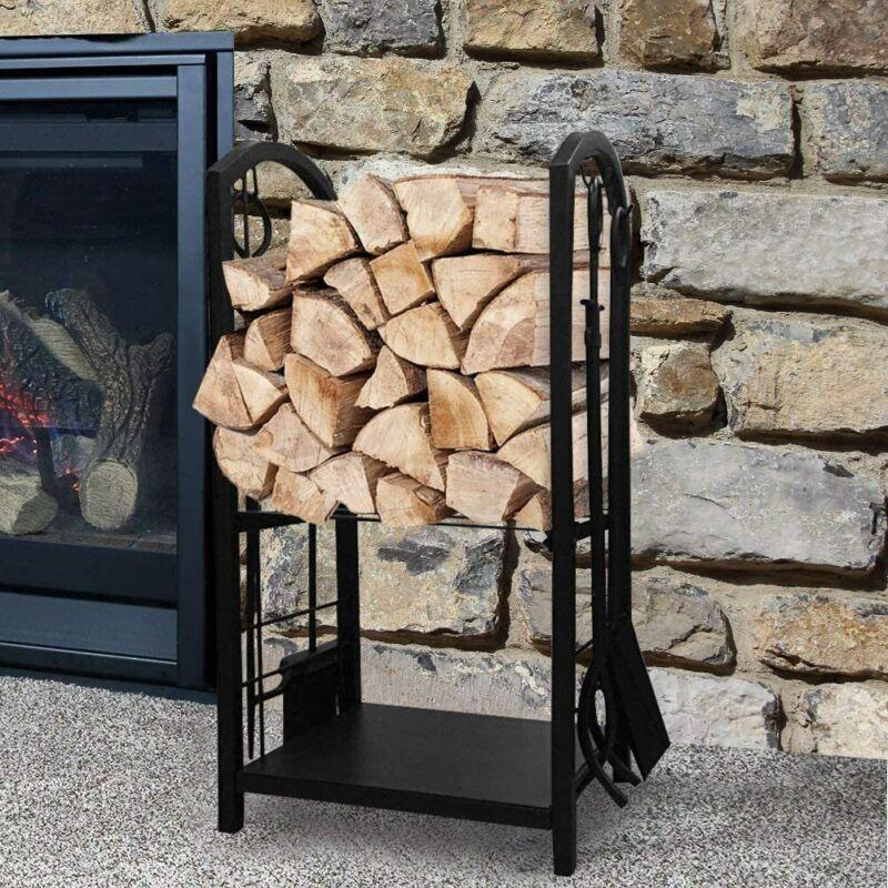 Log Station Stand Log Holder Fire Companion Set Log Basket Log Holder Log Rack