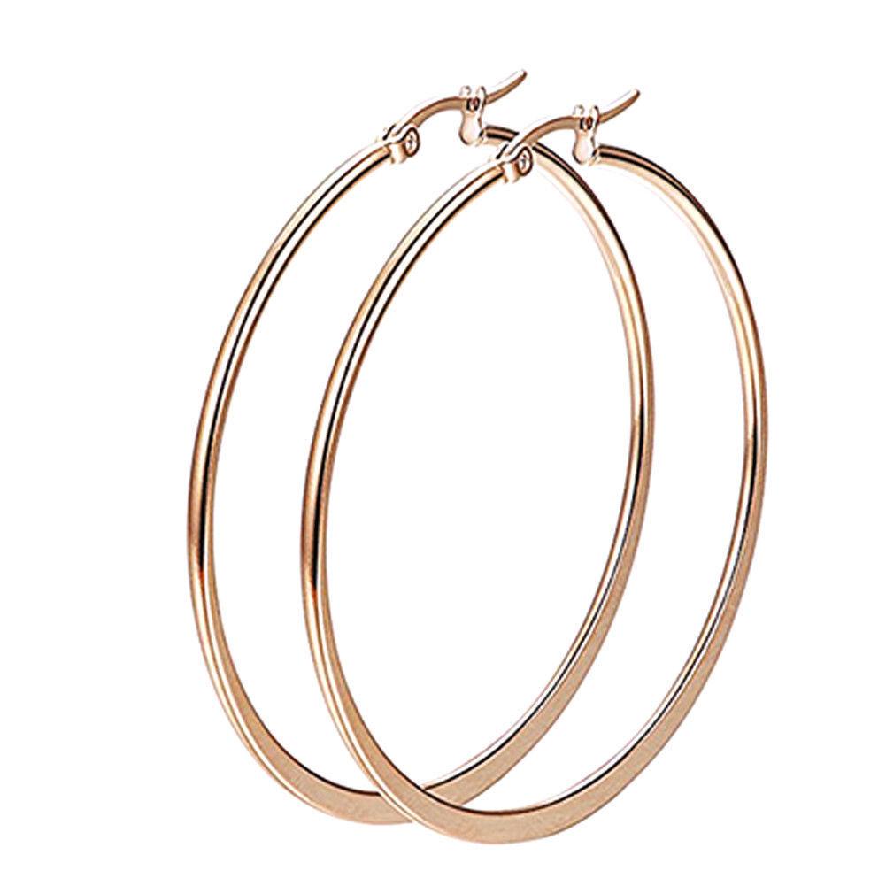 1 Pair Sexy Women Stainless Steel Smooth Big Large Hoop Earrings Jewelry 40-60mm Earrings