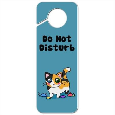 Calico Kitten with Cat Toys Plastic Door Knob Hanger Sign (Door Knob Hanger Cat Toy)