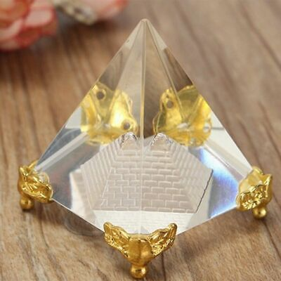 - Mini Egyptian Triangle Crystal Quartz Stone Clear Pyramid Reiki Healing Amulet