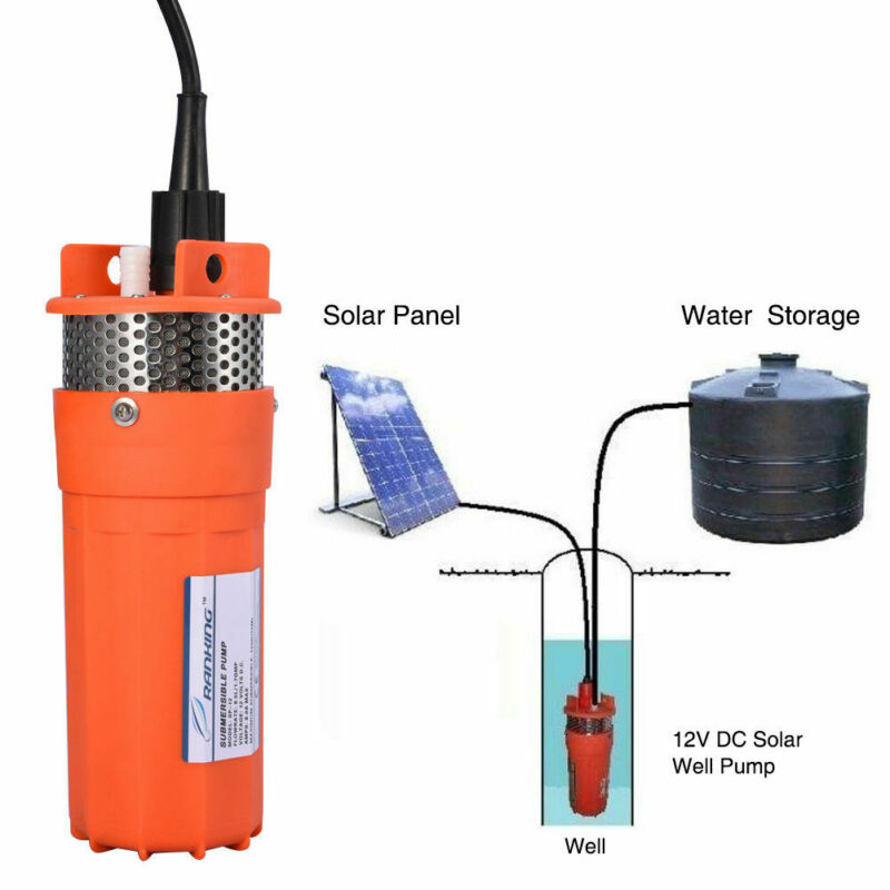 "12V Submersible Deep DC Solar Well Water Pump Battery Alternate Energy 4"" 230Ft"