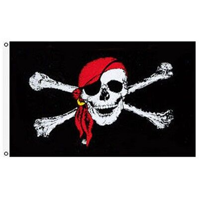 3X5 Jolly Roger Pirate Red Bandana Skull Crossbones Premium Banner FAST US SHIP](Red Pirate Bandana)