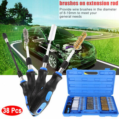 """38 Pcs Industrial Quality Wire Brush Set 1/4"""" Hex Shank Extension Rod Brush USA"""